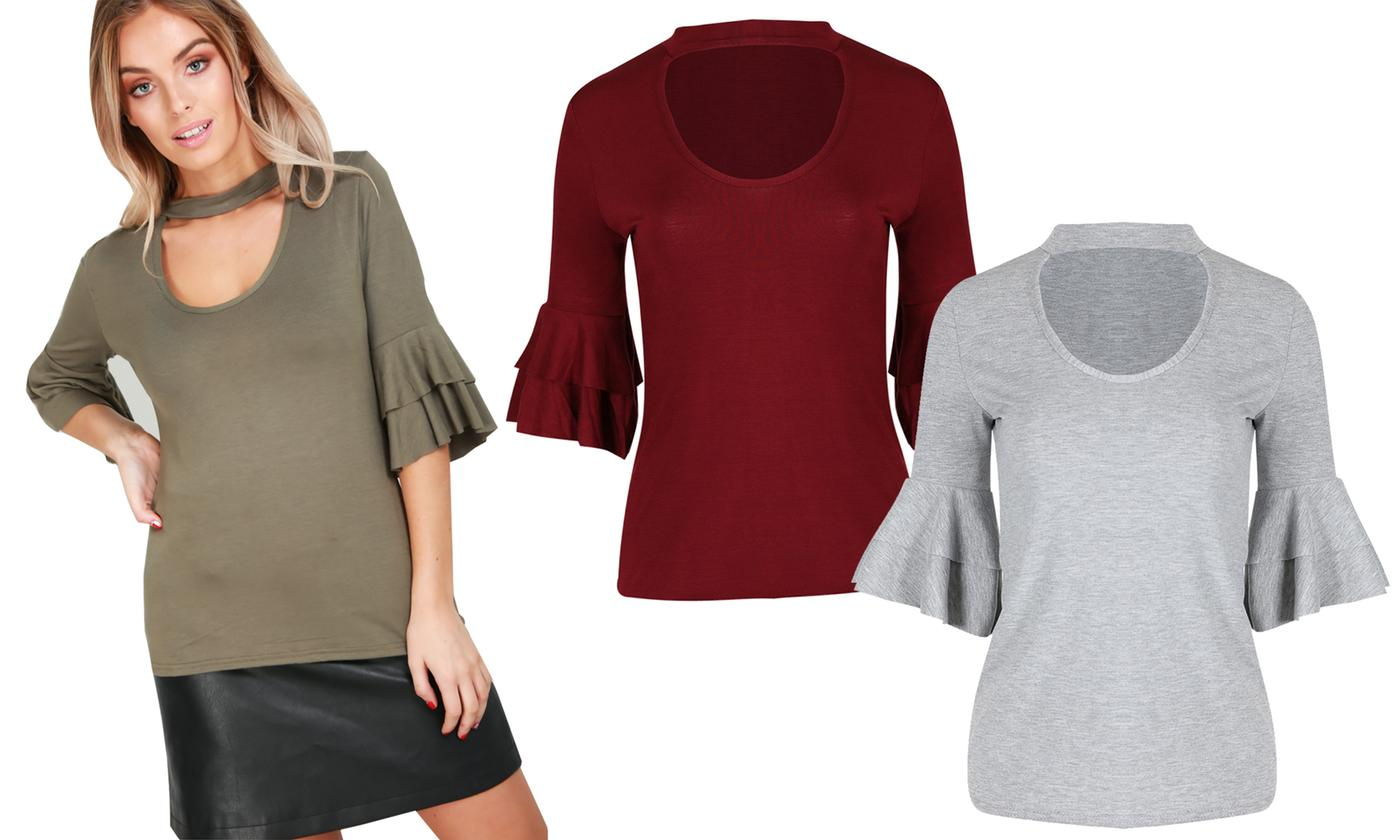 Oops Women's Double Peplum Frill Stretchy Top