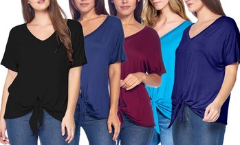 Isaac Liev Women's Front-Tie Knot Tops (3-Pack). Plus Sizes Available.