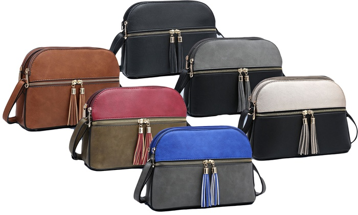 09f2a0adfc32 MK Belted Collection Double Zipper Crossbody Purse