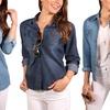 Women's Button-Down Roll-Up Sleeve Classic Denim Shirt