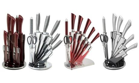 Juego de cuchillos de acero inoxidable de 8 piezas con soporte giratorio