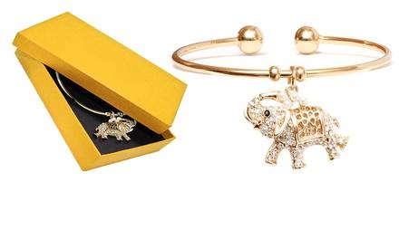 18K Gold Plated Elephant Charm Cuff Bangle Made with Swarovski Elements