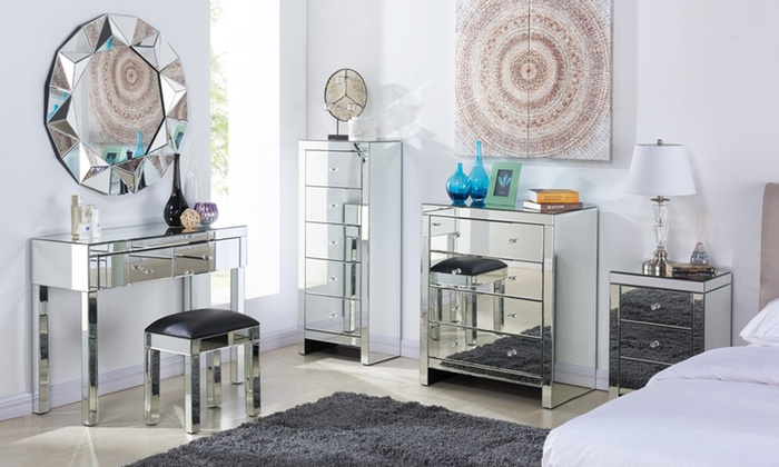 mirrored furniture bedroom mirrored bedroom furniture groupon 12427
