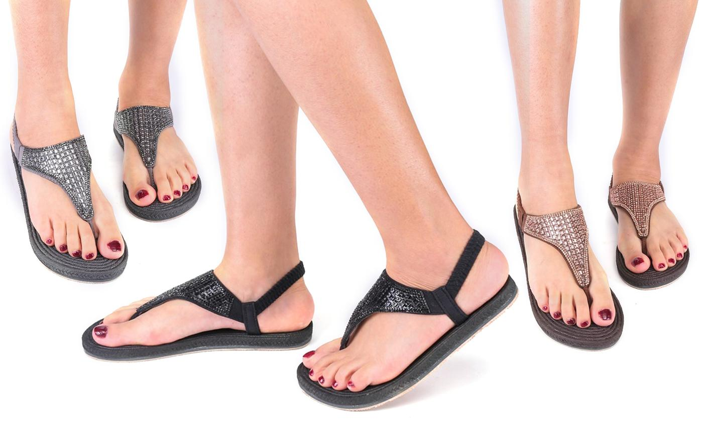 Flat Diamante Sling Back Sandals
