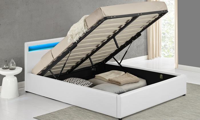 lit coffre led avec ou sans matelas groupon. Black Bedroom Furniture Sets. Home Design Ideas