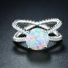 White Fire Opal Crisscross Ring by Peermont
