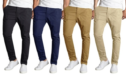 Galaxy By Harvic Men's Slim-Fit Stretch Chino Pants. Multiple Styles Available