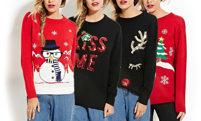 women 39 s ugly christmas sweaters groupon. Black Bedroom Furniture Sets. Home Design Ideas