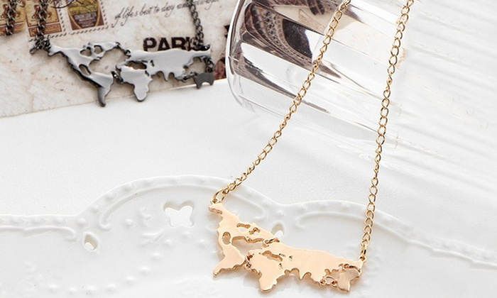 10k gold plated world map necklace groupon 10k gold plated world map necklace gumiabroncs Choice Image