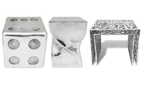 Taburetes y mesas auxiliares de aluminio disponible en diferentes formas