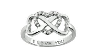 I Love You Engraved Cubic Zirconia Heart Ring in Sterling Silver