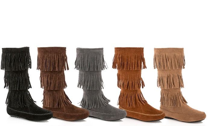 Rasolli French Women's Fringe Moccasin Boots