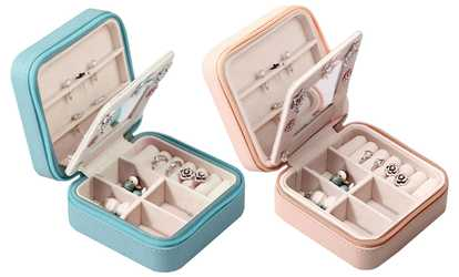 shop groupon zippered travel mini jewelry organizer