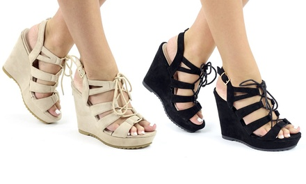 Women's High Wedge Sandals in LaceUp Style for £10.99