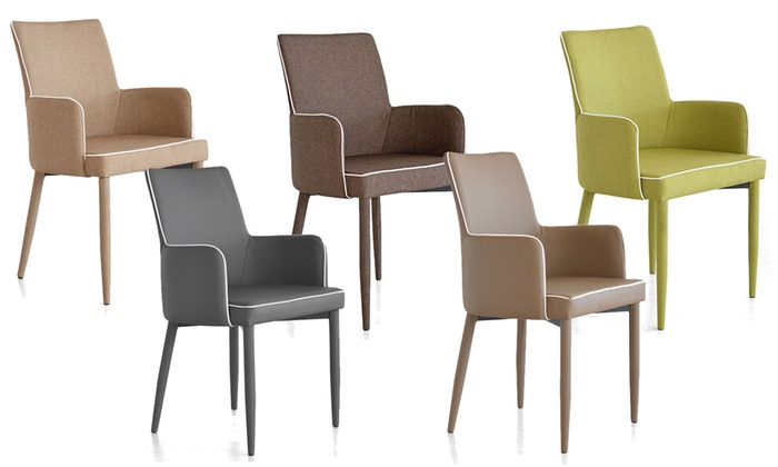 Groupon Goods Global GmbH: Set di 4 poltroncine Dany in ecopelle o in tessuto disponibili in 5 colori