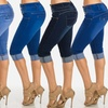 Women's Junior Buttock-Lifting Blue Denim Capris