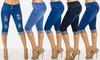 Women's Junior Buttock-Lifting Blue Denim Capris: Women's Junior Buttock-Lifting Blue Denim Capris