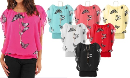 Womens Butterfly-Print Chiffon Ruffle Top with Necklace