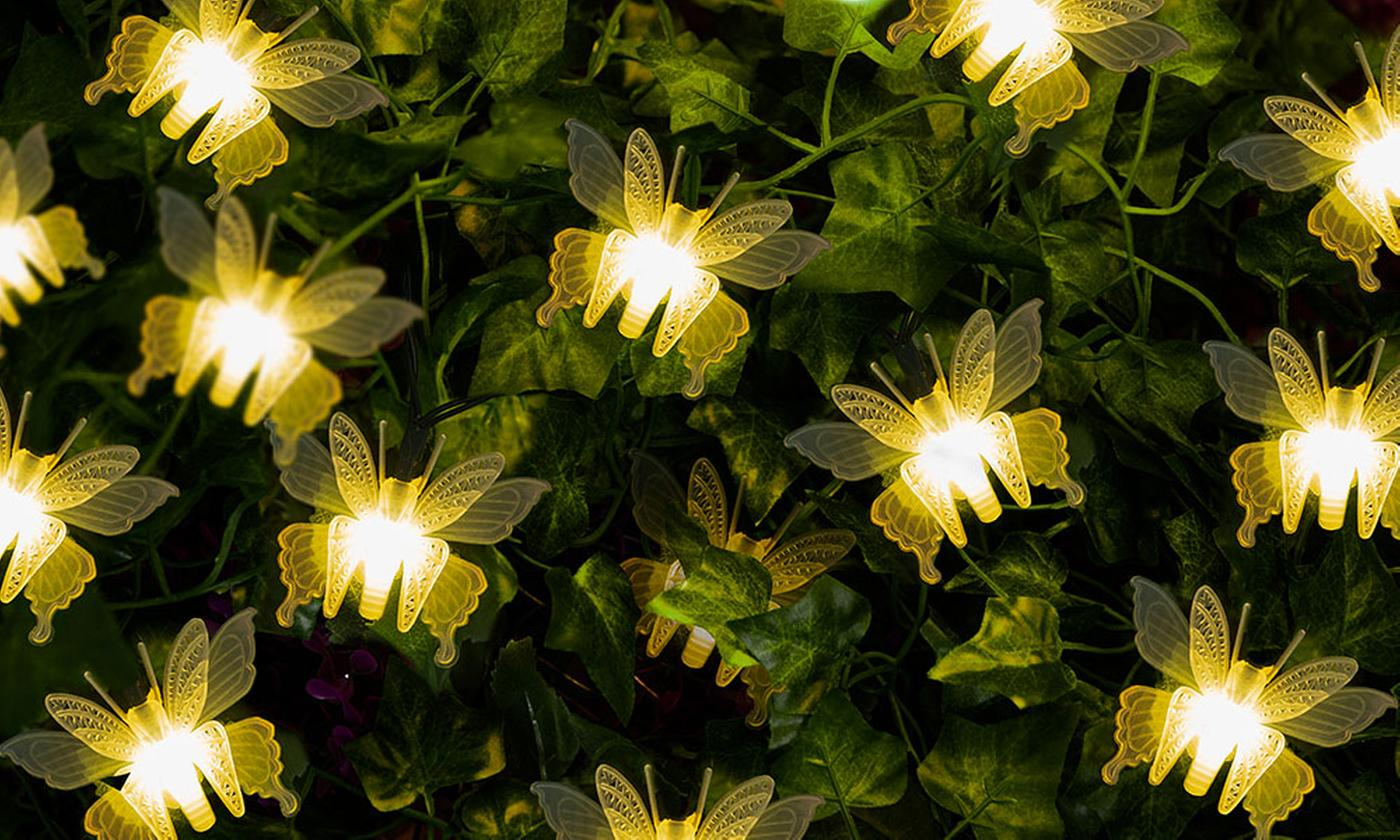 One, Two or Three 10-LED Warm White Butterfly Solar Light Strings