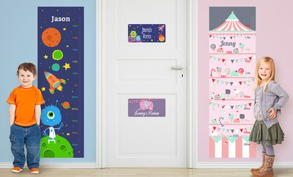Vinyl Name Door Sign or Wall Growth Chart from Dinkleboo (Up to 72% Off)