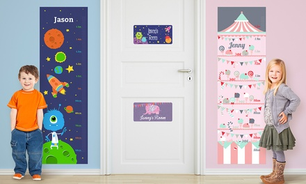 Vinyl Name Door Sign or Wall Growth Chart from Dinkleboo (Up to 76% Off)