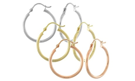 14K Gold 40mm High Polish Hoops