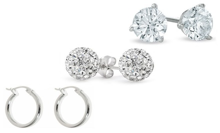 Crystal Earrings 3-PC Set with Swarovski Elements in Sterling Silver