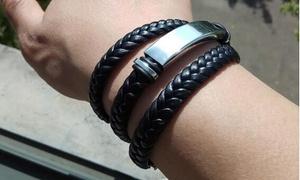1 ou 2 bracelets en cuir synthétique effet tressé