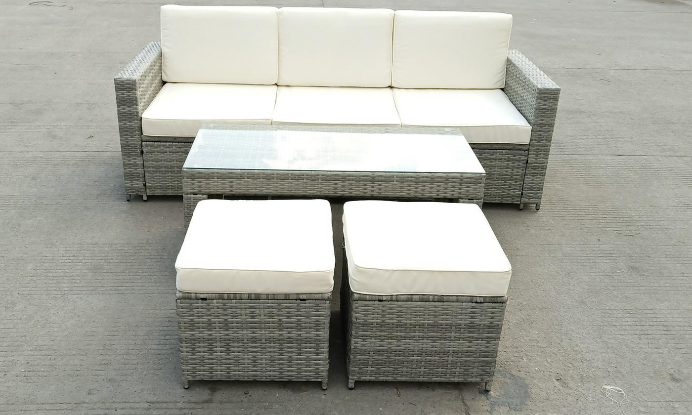Riviera Rattan-Effect Five-Seater Sofa Set from £359.99
