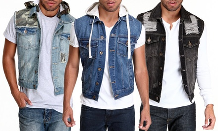 Agile Men's Denim Vests. Multiple Options Available. Free Returns.