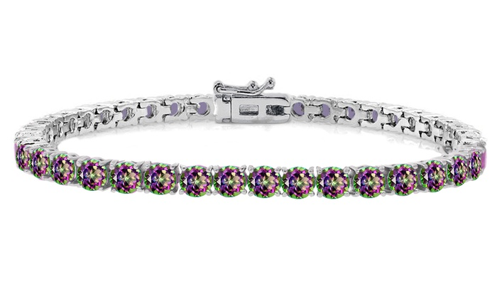 Genuine Mystic Topaz Tennis Bracelet In 18k White Gold Plating