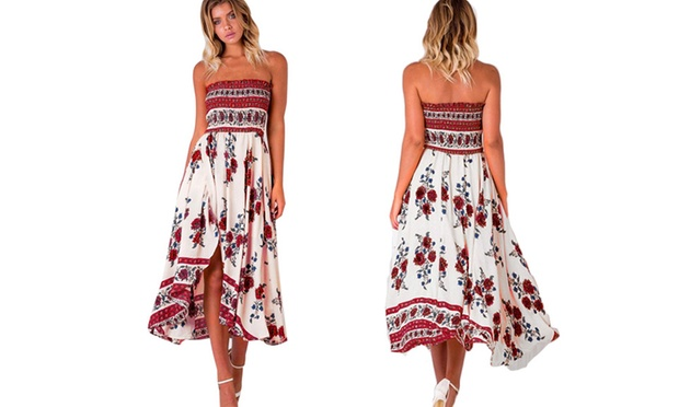 Red Floral or White Bandeau Chiffon Dress: One ($19) or Two ($29)
