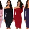 Lyss Loo Women's Bold Move Off-the-Shoulder Long-Sleeve Midi Dress