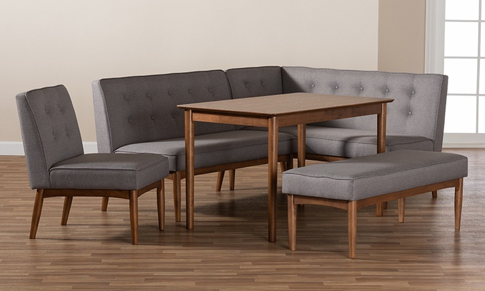 Arvid Gray Fabric Wood Dining Nook Set (5 Piece) | Groupon