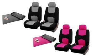 Cloth Front Seat Cover with Silicone Anti-Slip Dash Mat Set (5-Piece)