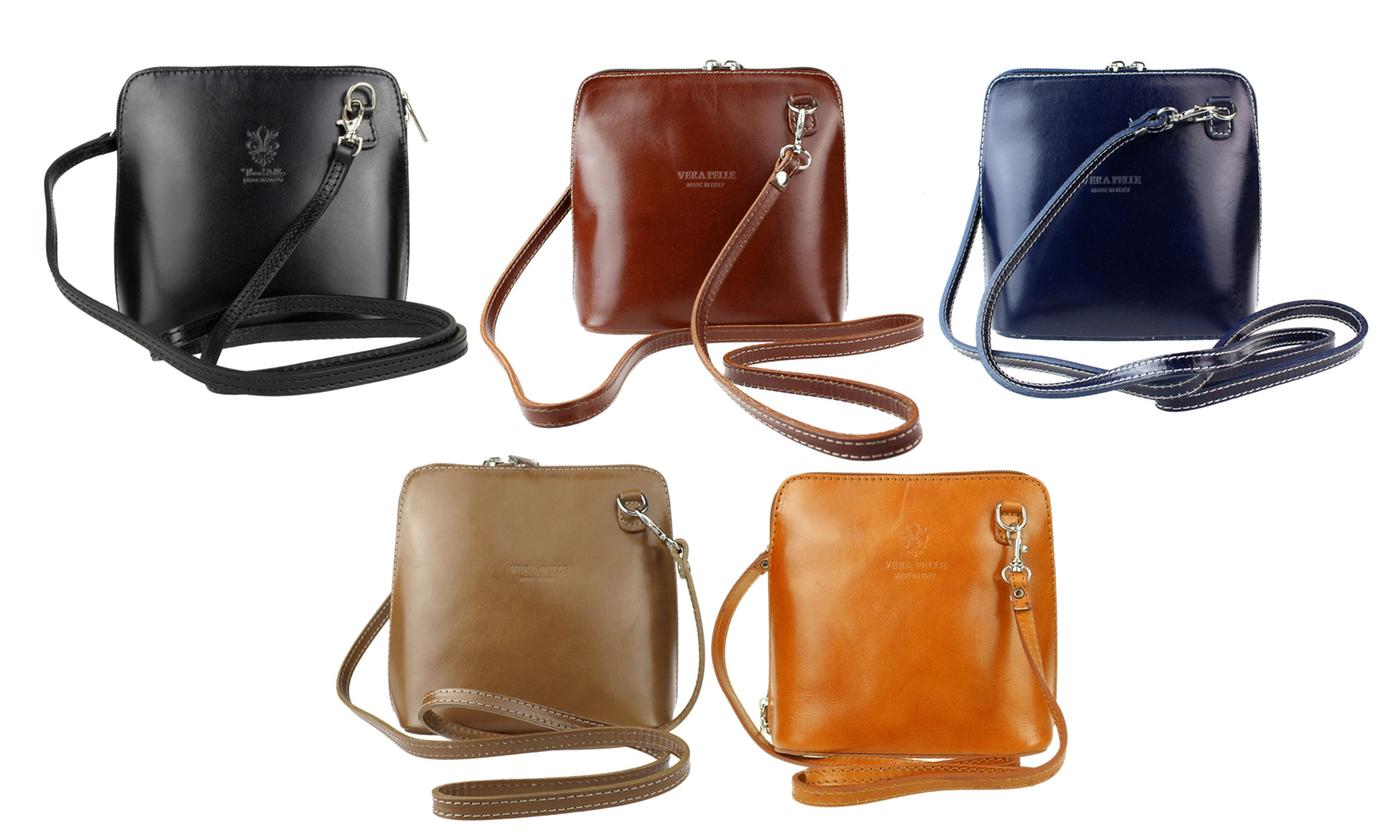 Vera Pelle Cross-Body Calf Leather Messenger Shoulder Bag