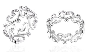18K White Gold Plated Filigree Heart Ring