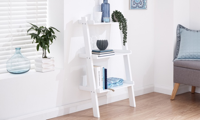 Three- or Five-Tier Ladder Shelf in Grey or White