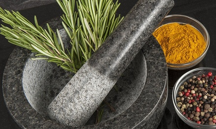 One or Two Polished Granite Mortar and Pestle Sets