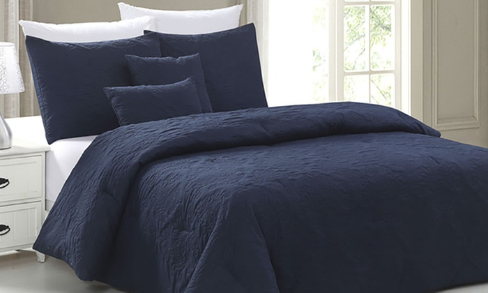 Embossed Down Alternative Comforter Set 5 Piece Groupon