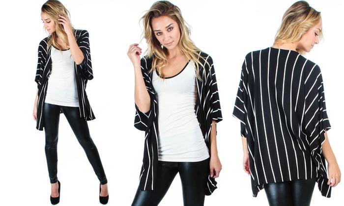 Lyss Loo Women's Striped Kimono Cardigan | Groupon