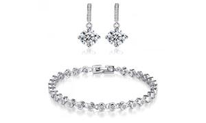 Bracelet avec ou sans boucles d'oreilles ornés de cristaux Swarovski®