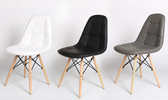lot de 2 chaises capitonn e scandinave tracee groupon. Black Bedroom Furniture Sets. Home Design Ideas