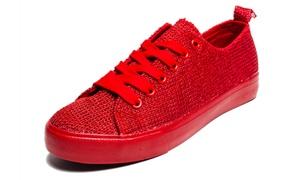 Women's Monochromatic Lace-Up Sneakers
