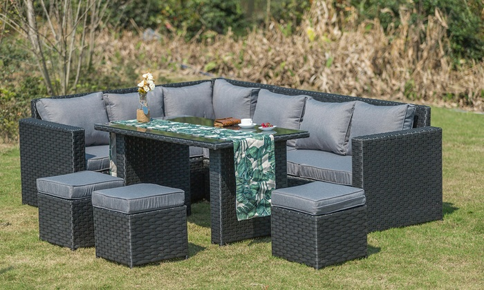 Yakoe Eight- or Nine-Seater Barcelona Rattan-Effect Garden Furniture Set with Optional Rain Cover (£479.99)