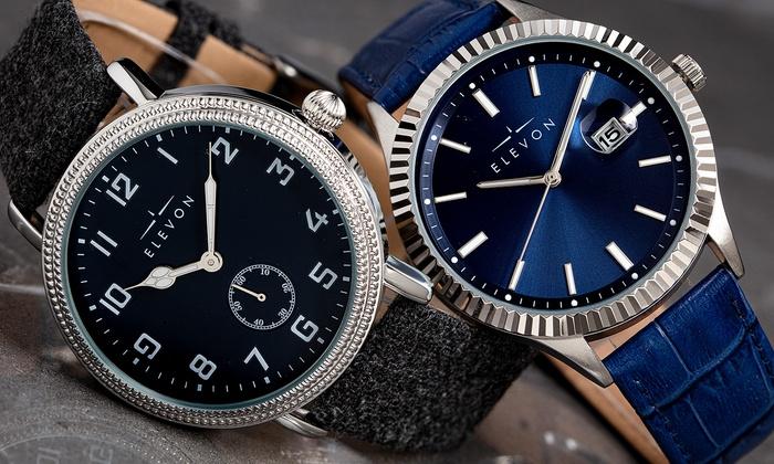 Elevon Northrop or Concorde Genuine Leather Watch