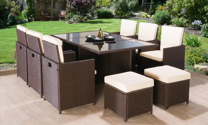 11 piece rattan effect garden set groupon goods Home furniture direct uk discount code