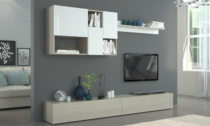 Soggiorno Ambra Made in Italy, composto da mobile porta-TV, mensola e  pensile