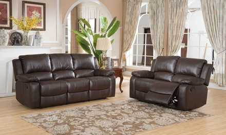 Daytona Bonded Leather Two and Three-Seater Reclining Sofa Set from £579.98 (Up to 55% Off)
