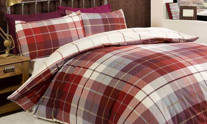 Rapport Home Reversible Checked Duvet Cover Set from £13